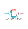 mobile pulse logo design vector image