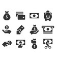 money and payment black icons on white background vector image vector image