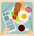 morning meal with fresh newspaper isolated vector image