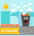organic trash can with monster face vector image vector image