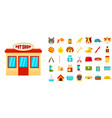 pet store icon set flat style vector image vector image