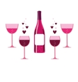 pink wine glasses and bottle vector image vector image