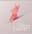 postcard with origami paper rabbit with vector image vector image