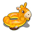 rubber ring for swimming in the shape of a giraffe vector image vector image