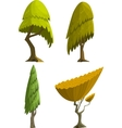 set four stylized cartoon trees vector image