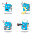 set of blue book character with waiter menu photo vector image vector image