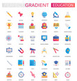 set trendy flat gradient education icons vector image vector image