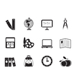 Silhouette School and education icons vector image vector image