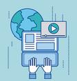 social media laptop global video player work vector image vector image