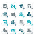 stylized social networking and communication icons vector image vector image