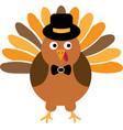 thanksgiving turkey bird with hat turkey bird vector image