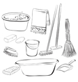 tools with things for cleaning and wash vector image
