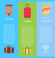 transfer locker and wi-fi set of hotel posters vector image vector image