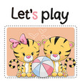 two tigers with a ball vector image vector image