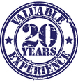 Valuable 20 years of experience rubber stamp vect vector image vector image