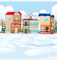 village scene with snow on the houses vector image