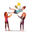 winner business woman throwing colleague vector image vector image