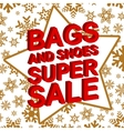 Winter sale poster with BAGS AND SHOES SUPER SALE vector image vector image