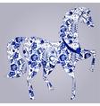 Blue stylized horse Gzhel vector image