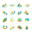 charts and graphs icon set 3d isometric view vector image