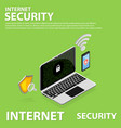 3d isometric internet security flat icons banner vector image