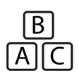 abc block icon on white background abc block sign vector image vector image
