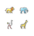 african wildlife printable patches vector image