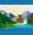 beautiful waterfall in vector image