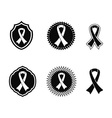 black awareness ribbons and Badges vector image