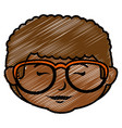 black little boy head with glasses character vector image