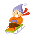 boy sledding cartoon character winter vector image
