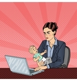 Business Woman Working on Laptop and Holding Baby vector image vector image