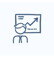 Businessman with infographic sketch icon vector image