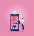 businesswoman inside a smart phone vector image vector image