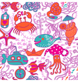 Cartoon set with sea live set vector image