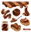 chocolate and peanut butter 3d realistic icon set vector image vector image