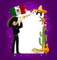 cinco de mayo frame with mariachi artist vector image vector image