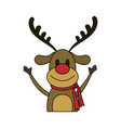 color image cartoon half body reindeer with scarf vector image