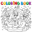 coloring book cute penguins 4 vector image vector image