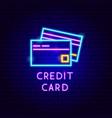 credit card neon label vector image