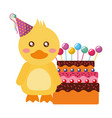 cute duck with party hat cake kawaii birthday vector image vector image