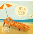 Cute summer poster - sun bathe on the chaise vector image vector image