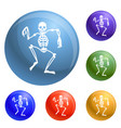 dancing skeleton icons set vector image