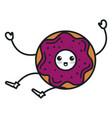 delicious sweet donut kawaii character vector image