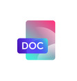 doc format icon gradient flat style bright vector image vector image