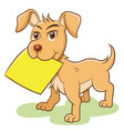 dog holding empty paper note label vector image vector image