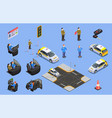 driving school isometric icons vector image vector image