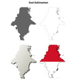 East Kalimantan blank outline map set vector image vector image