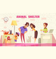 family adopting dog from animal shelter vector image vector image