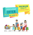family shopping on store sellout promotion poster vector image vector image